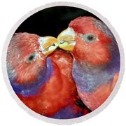 Kissing Birds Round Beach Towel