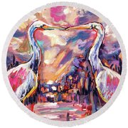 Kissing Egrets Never Forget Round Beach Towel