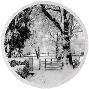 Kissing Gate In The Snow Round Beach Towel