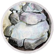 Kissing Rocks Round Beach Towel by Jane Clatworthy
