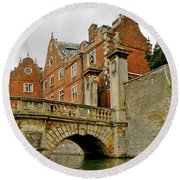 Kitchen Or Wren Bridge And St. Johns College From The Backs. Cambridge. Round Beach Towel