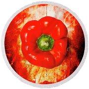 Kitchen Red Pepper Art Round Beach Towel