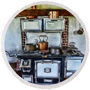 Kitchen - The Vintage Stove Round Beach Towel