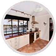 Kitchen With A River View Round Beach Towel