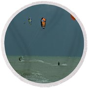 Kite Boarding At Obx Round Beach Towel