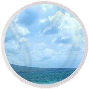 Kite Surfing With A Nevis Background Round Beach Towel