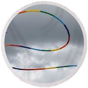 Kites And Clouds Round Beach Towel