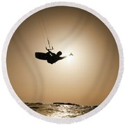 Kitesurfing At Sunset Round Beach Towel