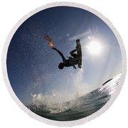 Kitesurfing In The Mediterranean Sea  Round Beach Towel by Hagai Nativ
