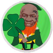 Kith Me I'm Irith Funny Novelty Mike Tyson Inspired Design For St Patrick's Day Round Beach Towel