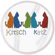 Kitsch Cats Silhouette Cat Collage Pattern Isolated Round Beach Towel