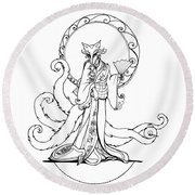 Kitsune Lady Round Beach Towel