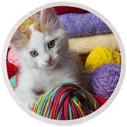 Kitten In Yarn Round Beach Towel