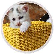 Kitten In Yellow Basket Round Beach Towel by Garry Gay