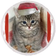 Kitten Playing Santa  Round Beach Towel
