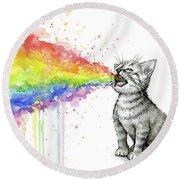Kitten Tastes The Rainbow Round Beach Towel