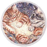 Kittens Sleeping Round Beach Towel