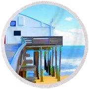 Kitty Hawk Pier 2 Round Beach Towel