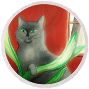 Kitty In The Plants Round Beach Towel