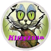Kittyzilla Round Beach Towel
