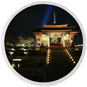 Kiyomizu-dera At Night Round Beach Towel
