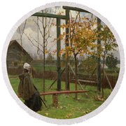 Klever, Yuli The Younger 1882-1942 Autumn Twilight Round Beach Towel