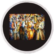 Klezmer Cats - Palette Knife Oil Painting On Canvas By Leonid Afremov Round Beach Towel