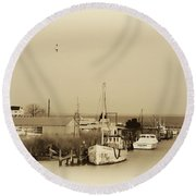 Knapps Narrows Tilghman Island Round Beach Towel