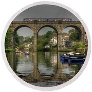 Knaresborough Viaduct Round Beach Towel