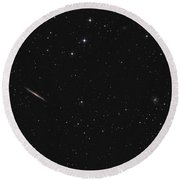 Knife Edge Galaxy Ngc 5907 In The Constellation Dragon Round Beach Towel