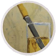Knife In Glass - After Diebenkorn Round Beach Towel