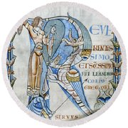 Knight And Monster Round Beach Towel