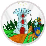 Brave Knight-errant And His Funny Wise Horse Round Beach Towel