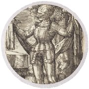 Knight In Armour With Bread And Wine Round Beach Towel