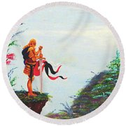Knight On A Cliff Round Beach Towel