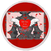 Knight Valentine Round Beach Towel