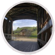 Knights Ferry Covered Bridge Round Beach Towel
