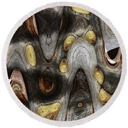 Knot In Old Board Abstract Round Beach Towel
