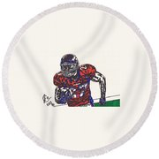 Knowshon Moreno 2 Round Beach Towel by Jeremiah Colley