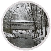 Knox Valley Forge Covered Bridge In Winter Round Beach Towel