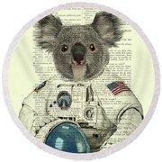 Koala In Space Illustration Round Beach Towel