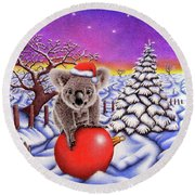 Koala On Christmas Ball Round Beach Towel