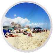 Blue Sky Day In Ocean City Round Beach Towel