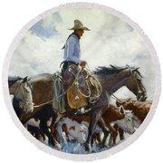 Koerner: Cowboy, 1920 Round Beach Towel