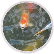 Koi And Great Blue Heron Round Beach Towel
