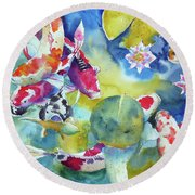 Koi And Two Waterlilies Flowers Round Beach Towel