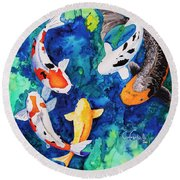 Koi Family Round Beach Towel