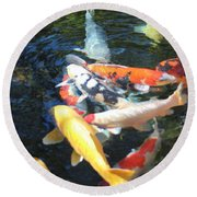 Koi Fish 2 Round Beach Towel
