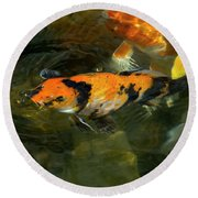 Koi Fish Blowing Bubbles Round Beach Towel