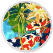 Koi Fish #104 Round Beach Towel